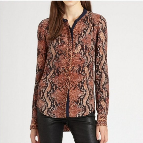 Rebecca Taylor Silk Python Blouse Button Front Top